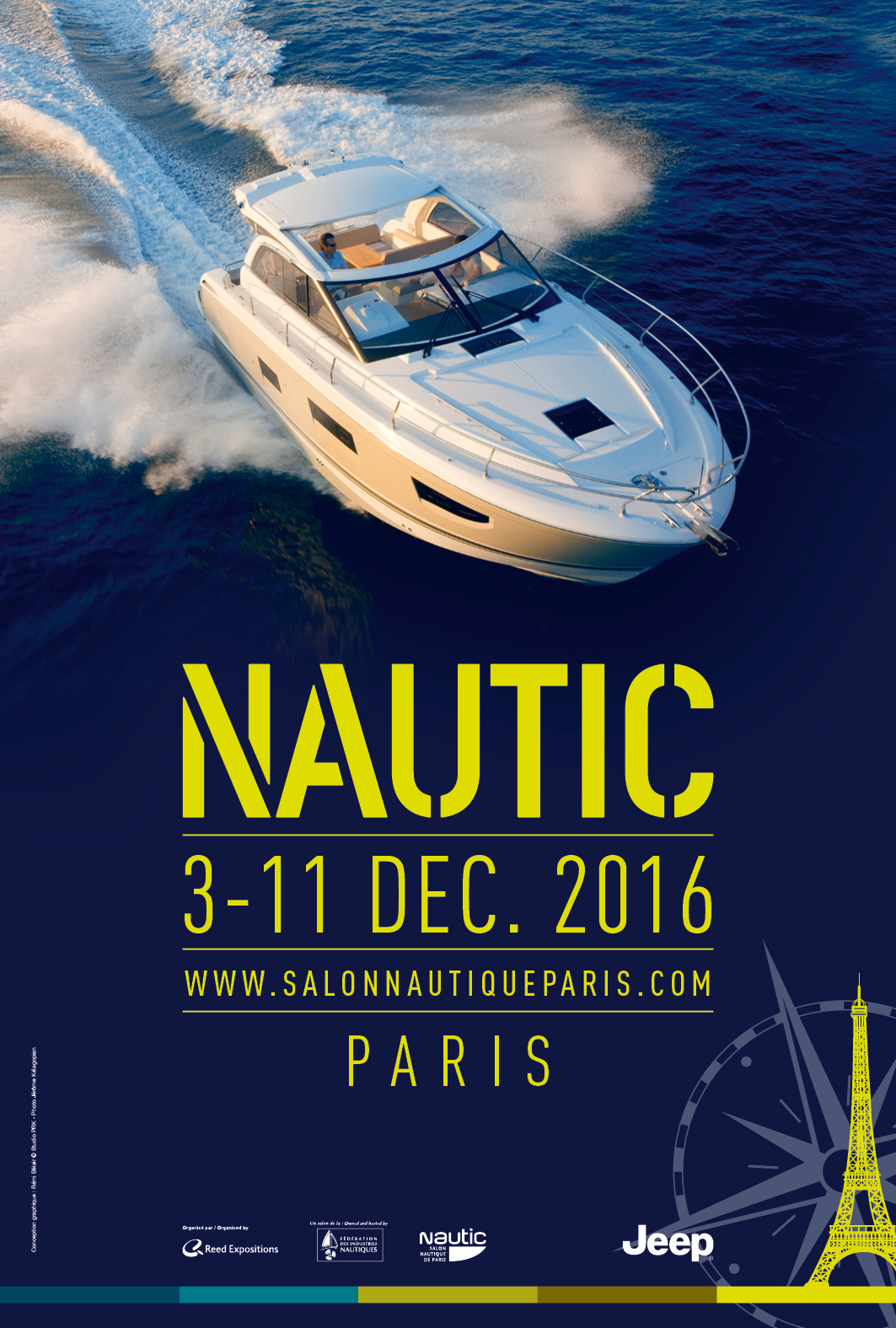 Salon nautic affiche 2016 bateau 1 cubisystem for Salon bateau paris